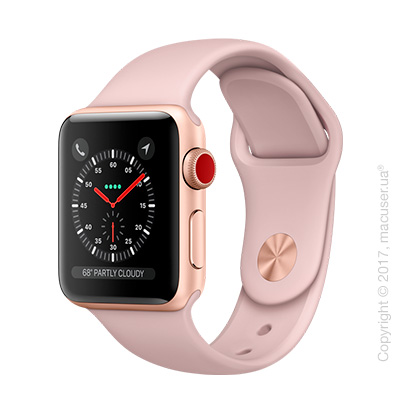 Apple Watch Series 3 GPS + Cellular 38mm Gold Aluminum Case со спортивным ремешком цвета
