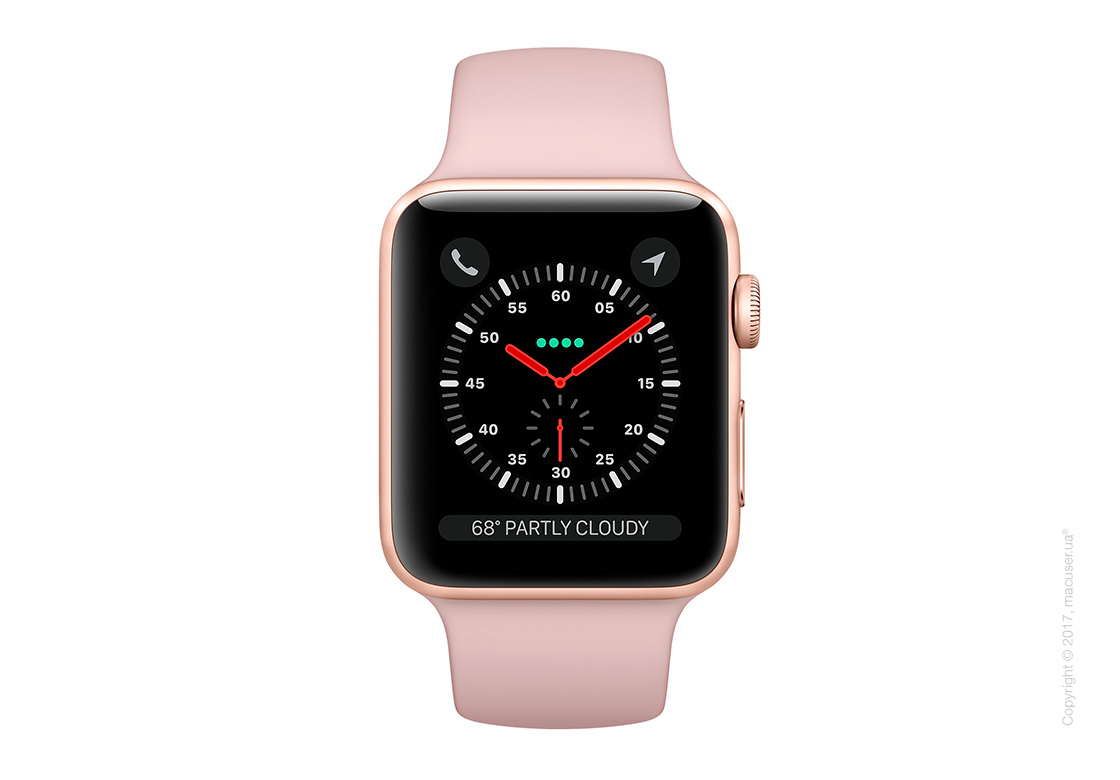 Apple Watch Series 3 GPS + Cellular 42mm Gold Aluminum Case со спортивным ремешком цвета