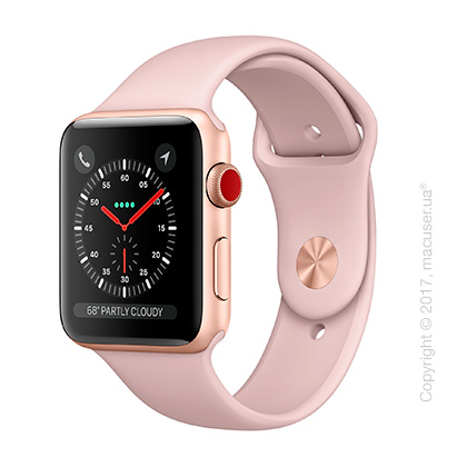 Apple Watch Series 3 GPS + Cellular 42mm Gold Aluminum Case со спортивным ремешком цвета