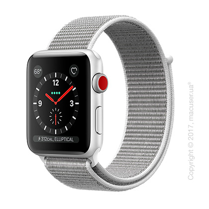 Apple Watch Series 3 GPS + Cellular 42mm Silver Aluminum Case со спортивным браслетом цвета