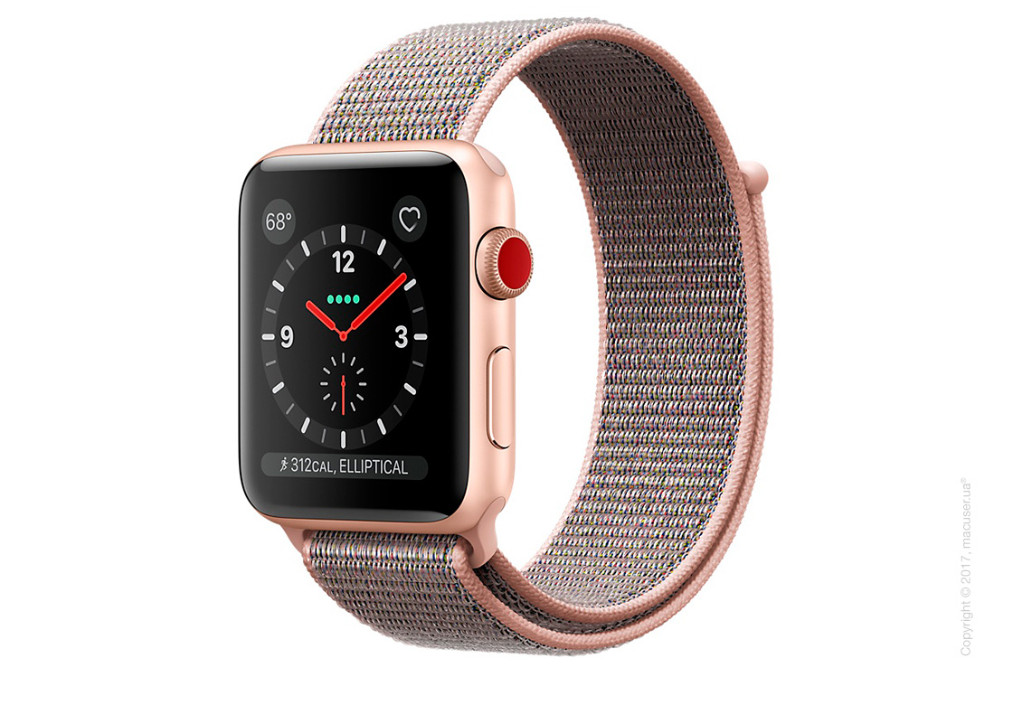Apple Watch Series 3 GPS + Cellular 42mm Gold Aluminum Case со спортивным браслетом цвета