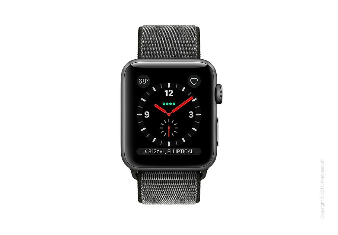 Apple Watch Series 3 GPS + Cellular 38mm Space Gray Aluminum Case со спортивным браслетом тёмно-оливкового цвета