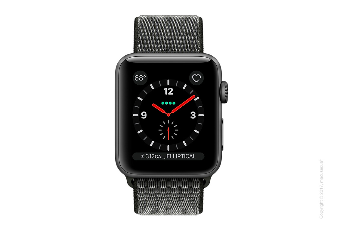 Apple Watch Series 3 GPS + Cellular 42mm Gold Aluminum Case со спортивным браслетом тёмно-оливкового цвета