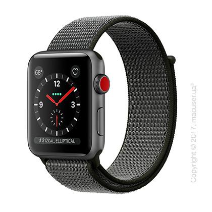Apple Watch Series 3 GPS + Cellular 42mm Space Gray Aluminum Case со спортивным браслетом тёмно-оливкового цвета