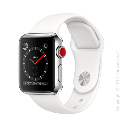 Apple Watch Series 3 GPS + Cellular 38mm Stainless Steel Case со спортивным ремешком цвета