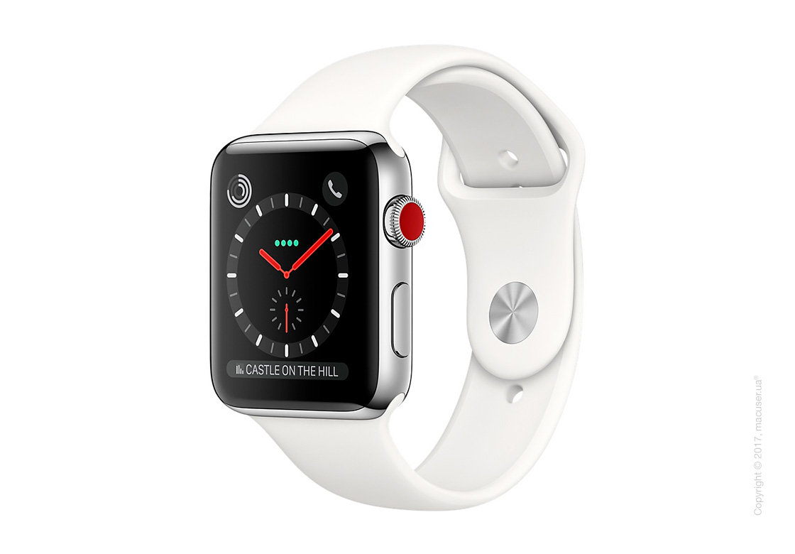Apple Watch Series 3 GPS + Cellular 42mm Stainless Steel Case со спортивным ремешком цвета