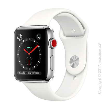 Apple Watch Series 3 GPS + Cellular 42mm Stainless Steel Case со спортивным ремешком цвета