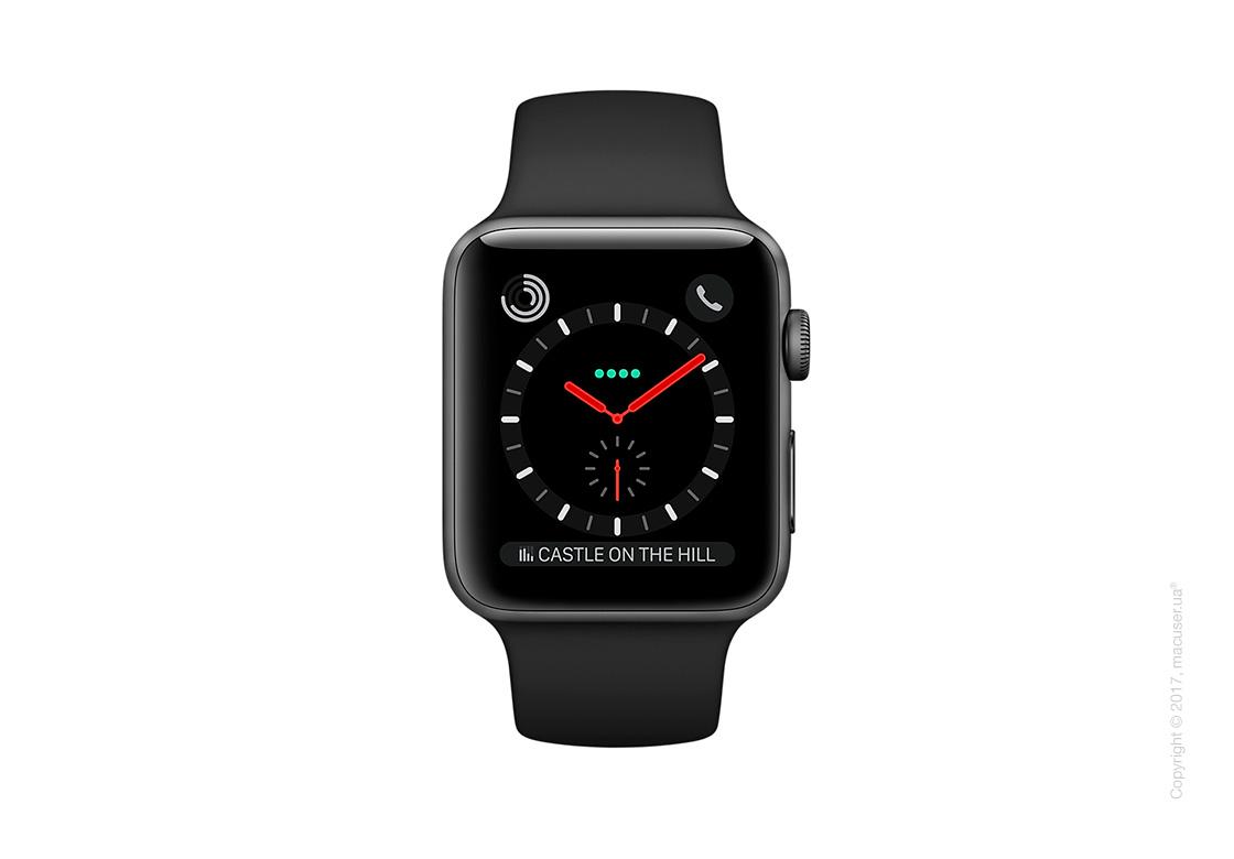 Apple Watch Series 3 GPS + Cellular 38mm Space Black Stainless Steel Case с чёрным спортивным ремешком