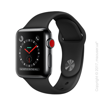 Apple Watch Series 3 GPS + Cellular 38mm Space Black Stainless Steel Case с чёрным спортивным ремешком