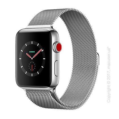 Apple Watch Series 3 GPS + Cellular 42mm Stainless Steel Case с миланским сетчатым браслетом