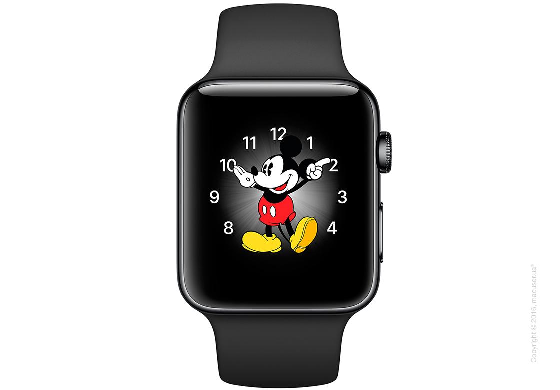 Apple Watch Series 2 42mm Space Black Stainless Steel Case с чёрным спортивным ремешком