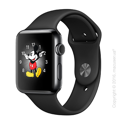 Apple Watch Series 2 42mm Space Black Stainless Steel Case с чёрным спортивным ремешком