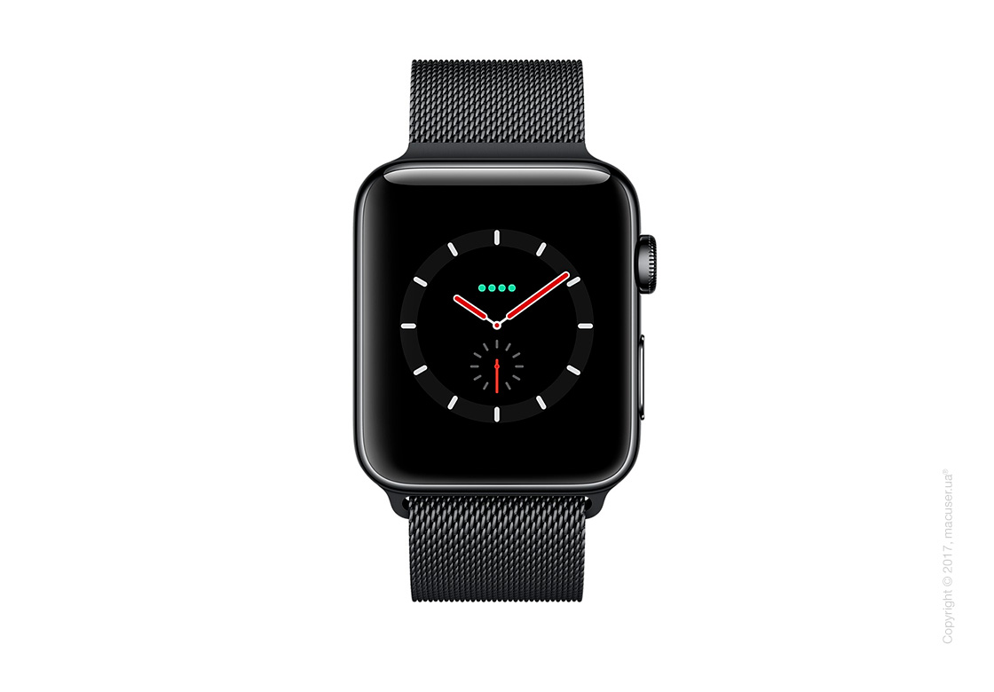 Apple Watch Series 3 GPS + Cellular 38mm Space Black Stainless Steel Case с миланским сетчатым браслетом цвета