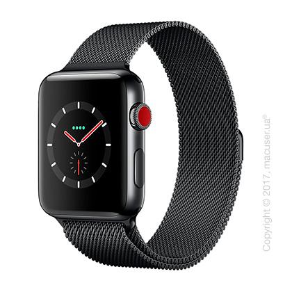 Apple Watch Series 3 GPS + Cellular 42mm Space Black Stainless Steel Case с миланским сетчатым браслетом цвета