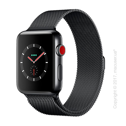 Apple Watch Series 3 GPS + Cellular 42mm Space Black Stainless Steel Case с миланским сетчатым браслетом цвета