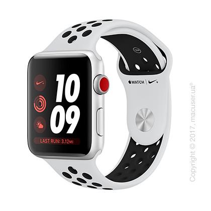 Apple Watch Series 3 GPS + Cellular 42mm Silver Aluminum Case со спортивным ремешком Nike цвета «чистая платина/чёрный»