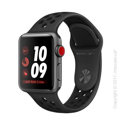 Apple Watch Series 3 GPS + Cellular 38mm Space Gray Aluminum Case со спортивным ремешком Nike цвета «антрацитовый/чёрный»