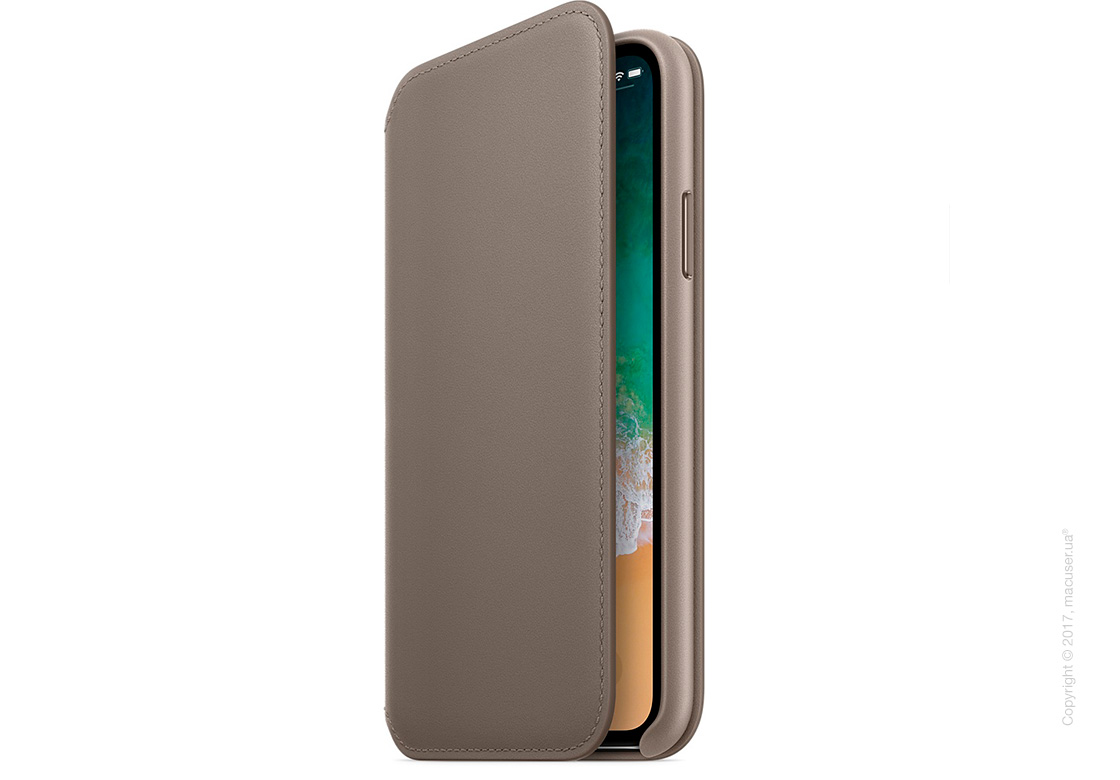 Чехол iPhone X Leather Folio - Taupe