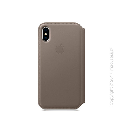 Чехол iPhone X Leather Folio - Taupe
