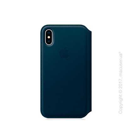 Чехол iPhone X Leather Folio - Cosmos Blue