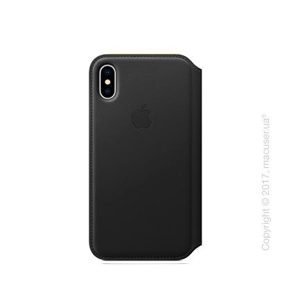 Чехол iPhone X Leather Folio - Black
