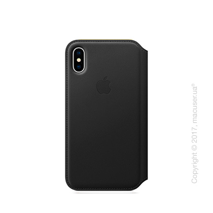 Чехол iPhone X Leather Folio - Black