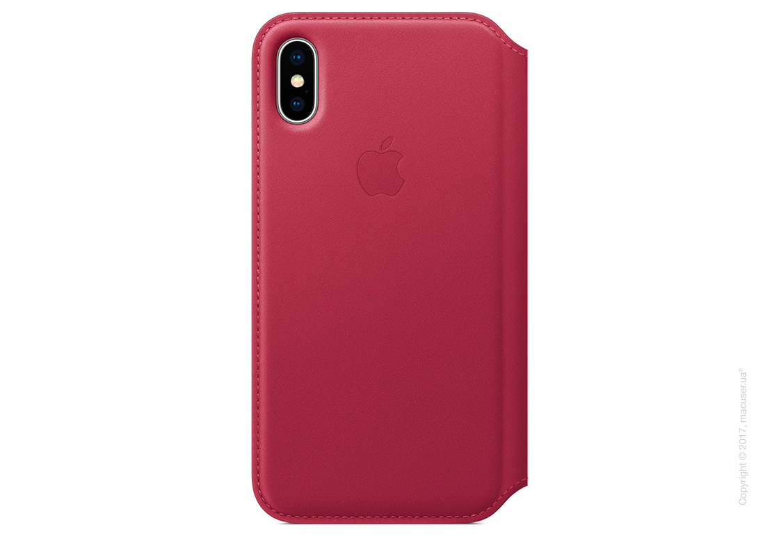 Чехол iPhone X Leather Folio - Berry