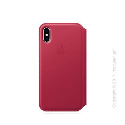 Чехол iPhone X Leather Folio - Berry