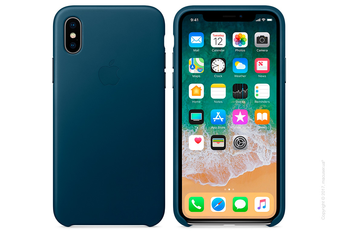 Чехол iPhone X Leather Case - Cosmos Blue
