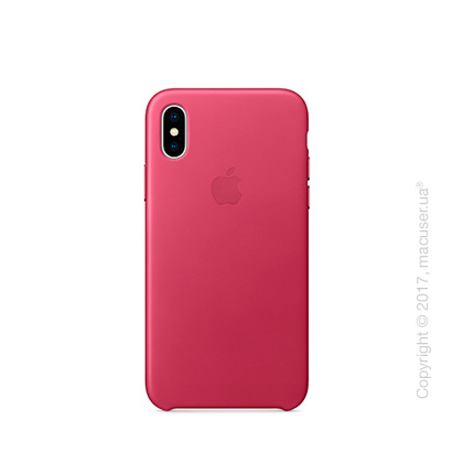 Чехол iPhone X Leather Case - Pink Fuchsia