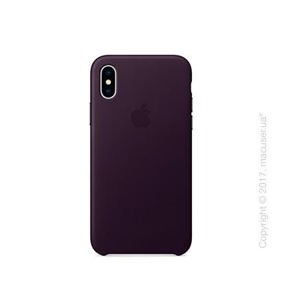Чехол iPhone X Leather Case - Dark Aubergine