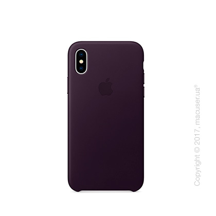 Чехол iPhone X Leather Case - Dark Aubergine