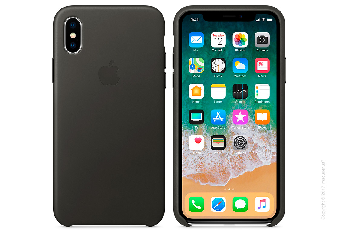 Чехол iPhone X Leather Case - Charcoal Gray