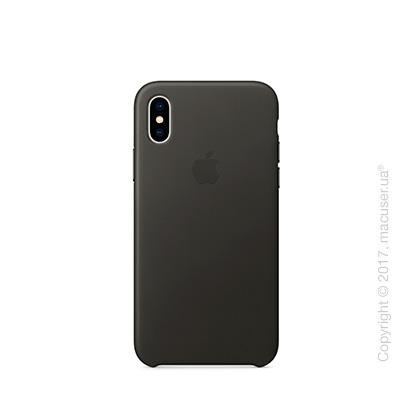 Чехол iPhone X Leather Case - Charcoal Gray