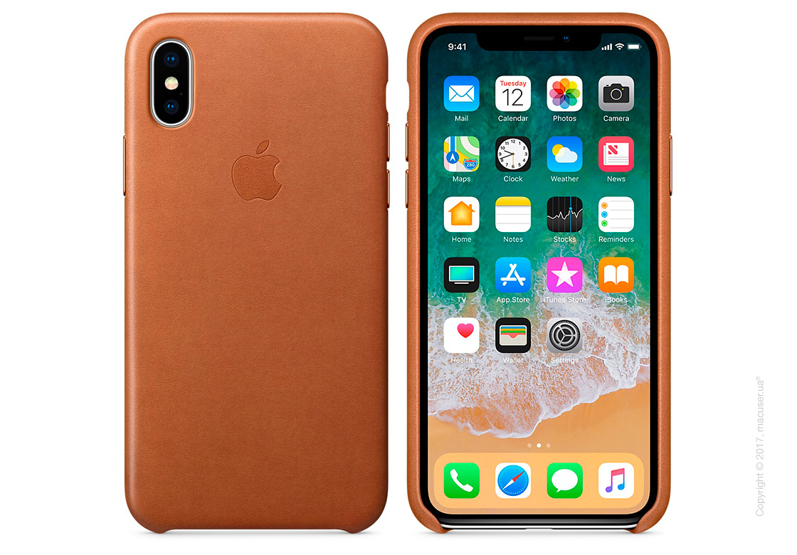 Чехол iPhone X Leather Case - Saddle Brown