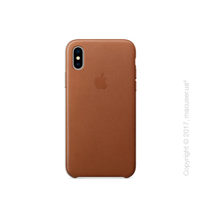 Чехол iPhone X Leather Case - Saddle Brown
