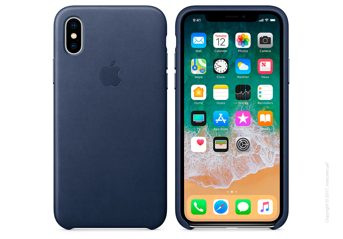 Чехол iPhone X Leather Case - Midnight Blue