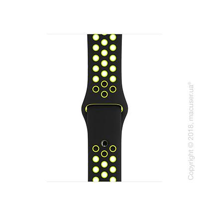 Спортивный ремешок Nike цвета «чёрный/салатовый» 38 мм