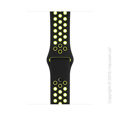 Спортивный ремешок Nike цвета «чёрный/салатовый» 42 мм