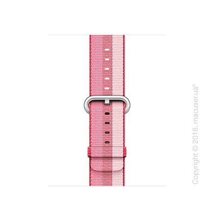 Ремешок из плетёного нейлона ягодного цвета (в полоску) 38 мм