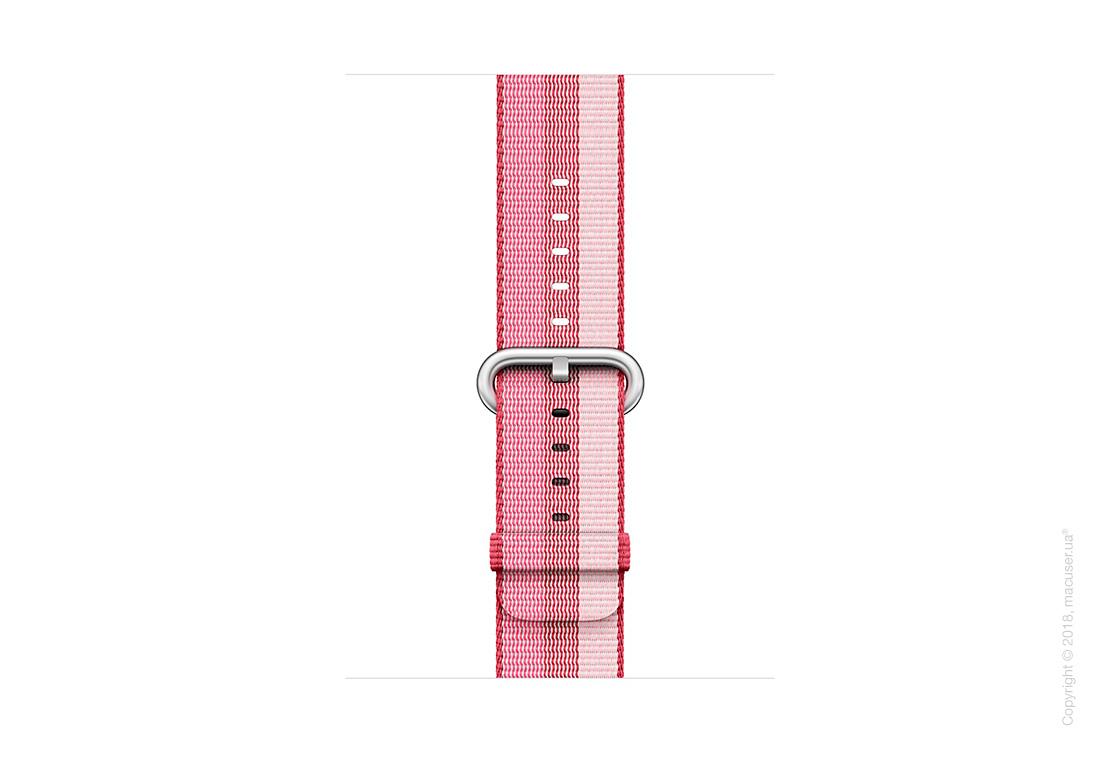Ремешок из плетёного нейлона ягодного цвета (в полоску) 42 мм