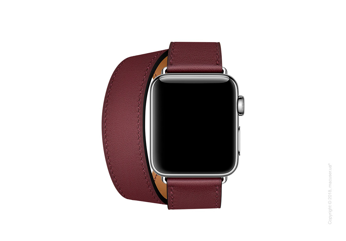 Apple Watch Hermès: ремешок Double Tour из кожи Swift цвета Bordeaux  38 мм