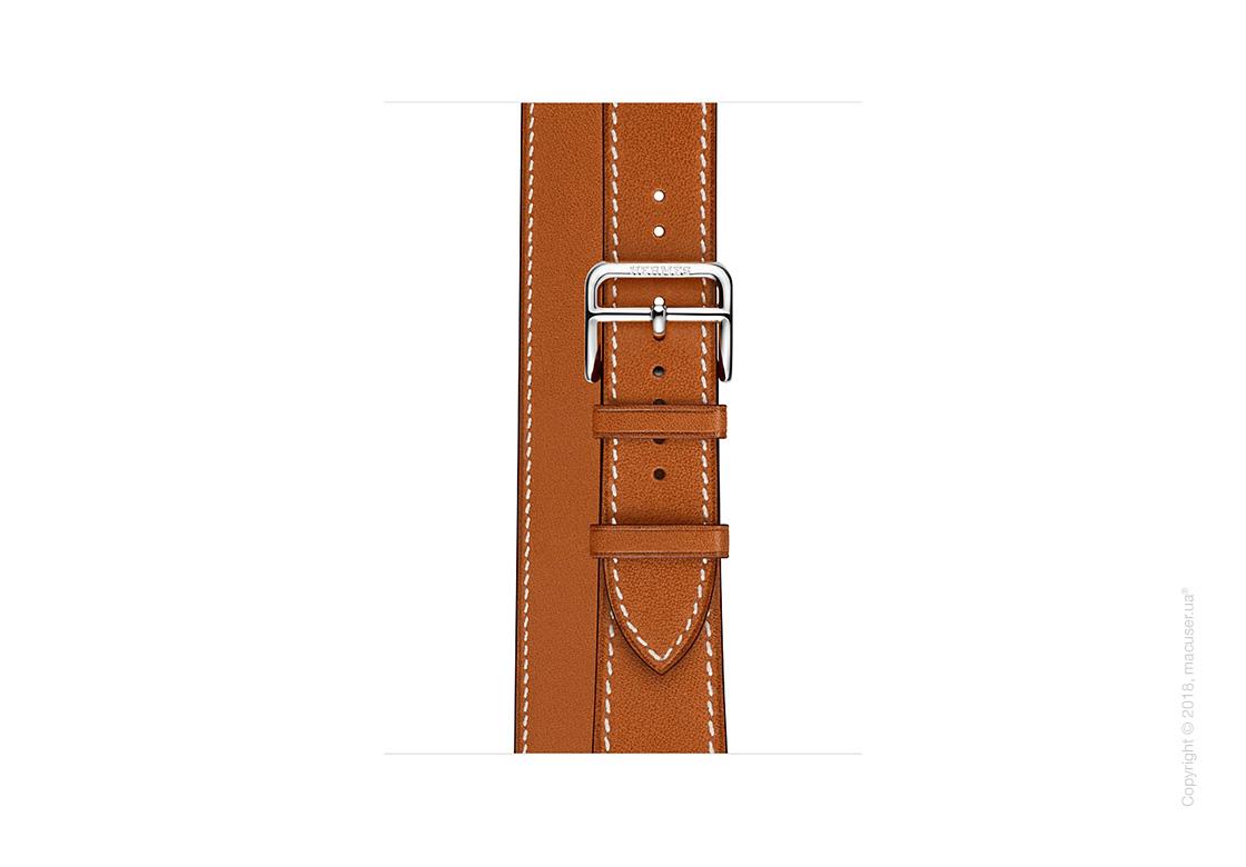 Apple Watch Hermès: ремешок Double Tour из кожи Barénia цвета Fauve , размер Regular (стандартный)  38 мм