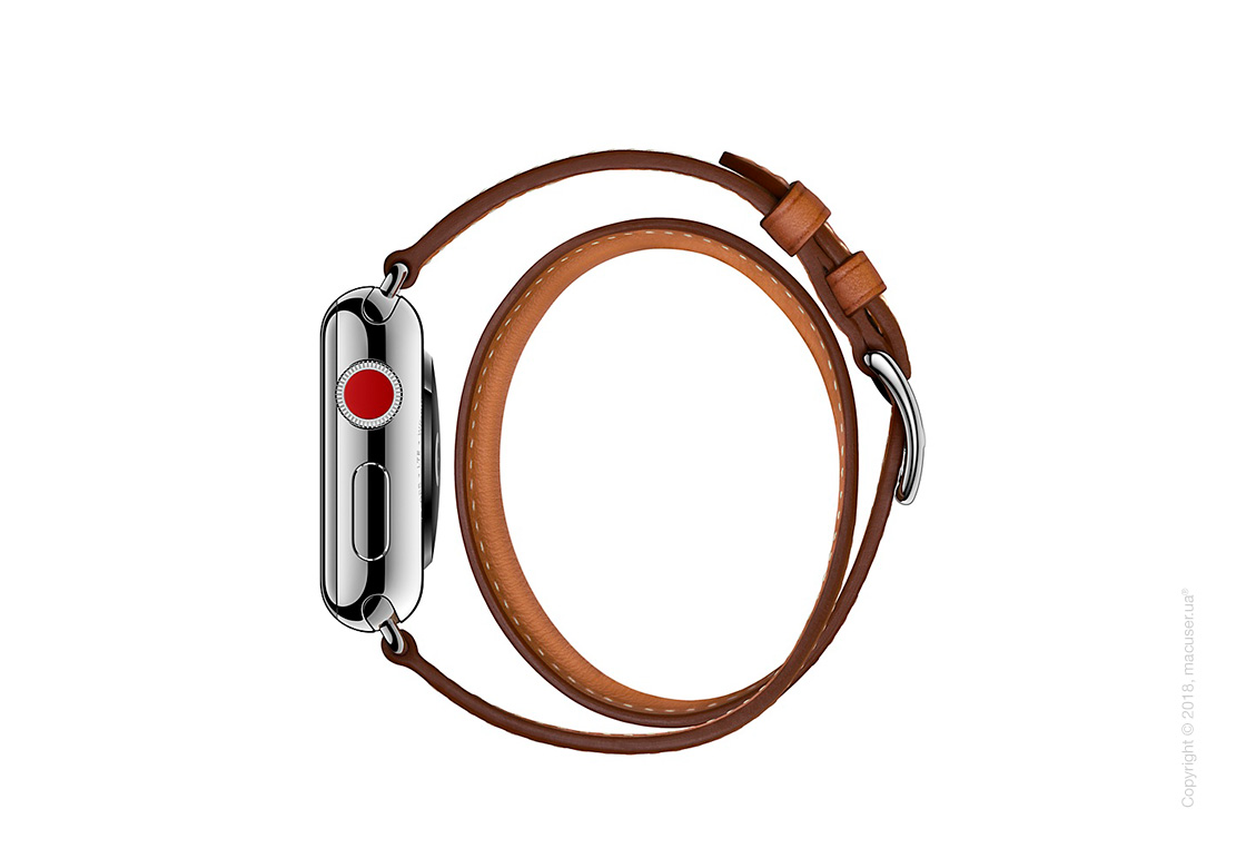 Apple Watch Hermès: ремешок Double Tour из кожи Barénia цвета Fauve , размер Regular (стандартный)  38 мм