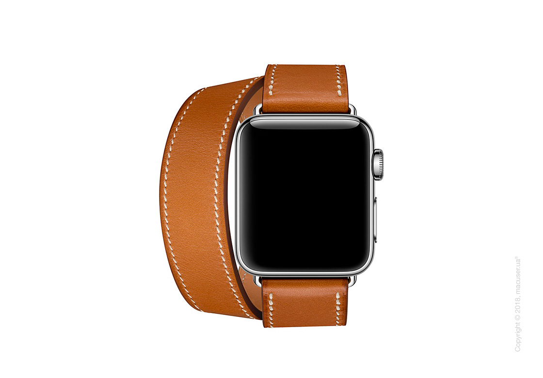 Apple Watch Hermès: ремешок Double Tour из кожи Barénia цвета Fauve, размер L 38 мм