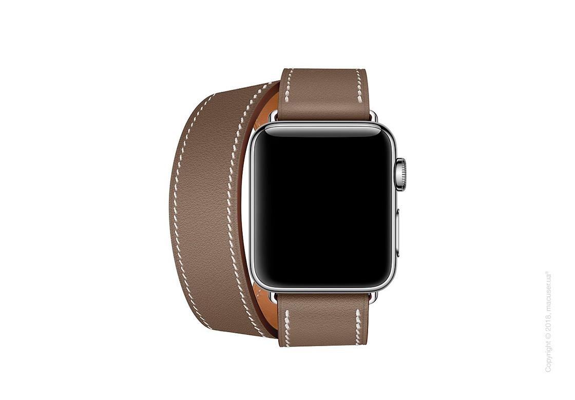 Apple Watch Hermès: ремешок Double Tour из кожи Swift цвета Étoupe, размер Regular (стандартный) 38 мм