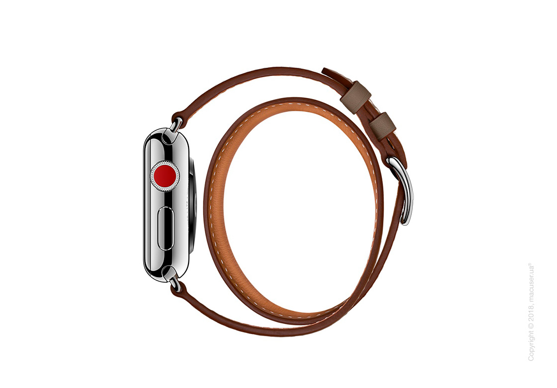 Apple Watch Hermès: ремешок Double Tour из кожи Swift цвета Étoupe, размер L 38 мм