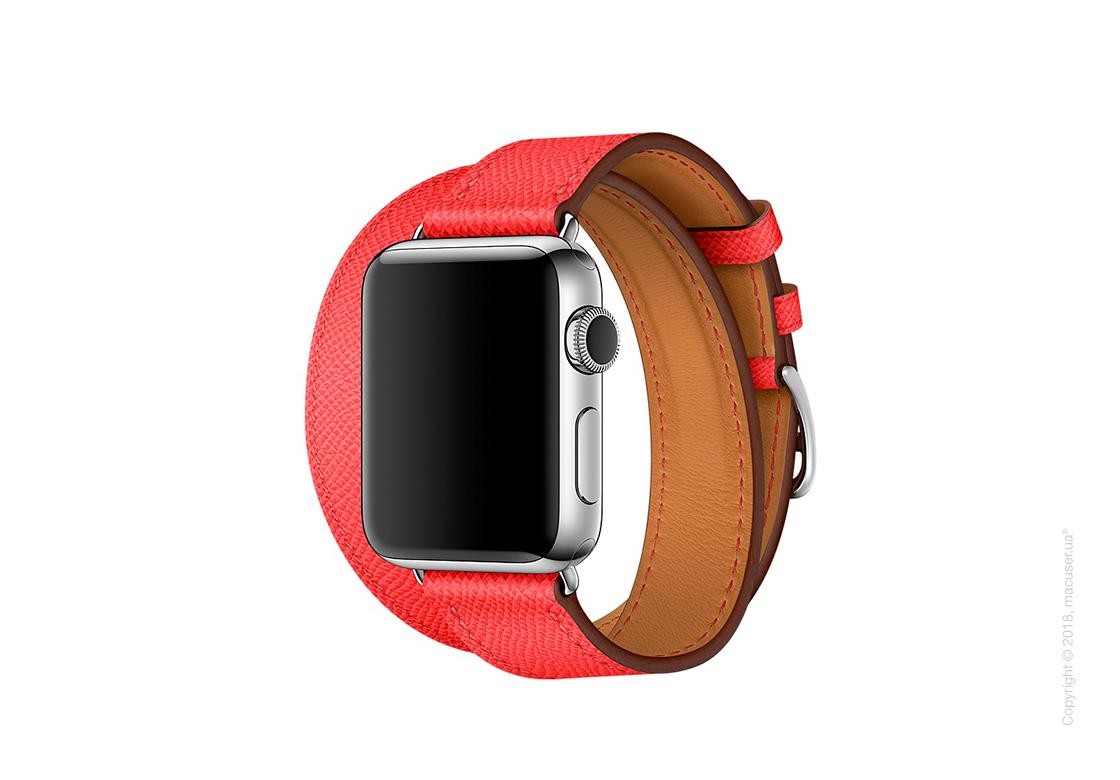 Apple Watch Hermès: ремешок Double Tour из кожи Epsom цвета Rose Jaipur, размер Regular (стандартный) 38 мм