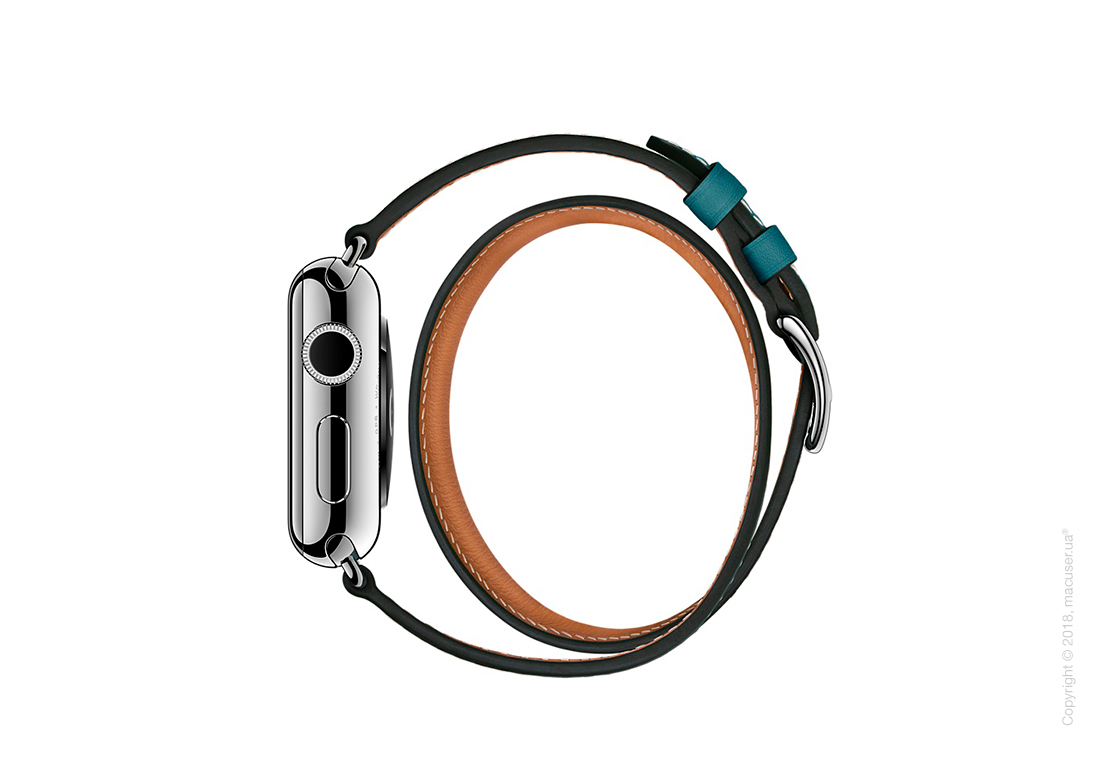 Apple Watch Hermès: ремешок Double Tour из кожи Swift цвета Bleu Jean, размер Regular (стандартный) 38 мм