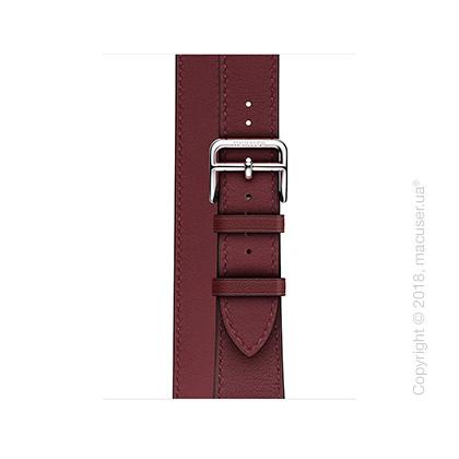 Apple Watch Hermès: ремешок Double Tour из кожи Swift цвета Bordeaux 38 мм